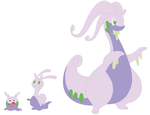 Goomy, Sliggoo and Goodra Base by SelenaEde