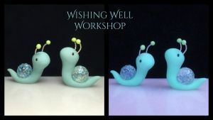 Polymer Clay Glowing Crystal Snails by missfinearts