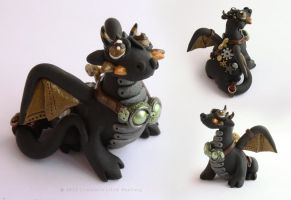 Archimedes, the black steampunk dragon by LitefootsLilBestiary