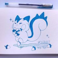 Inktober Day 3: Pachirisu! by KeezaPepper