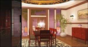 Interior Rendering -- Dining Room Right Side by jbjdesigns