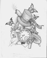 Alice in wonderland desing tattoo by Nem-Metalhead