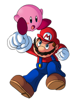 Mario VS Kirby by Ian-the-Hedgehog