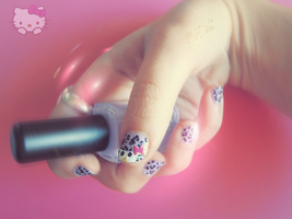 Hello Kitty nail art by didoo0501