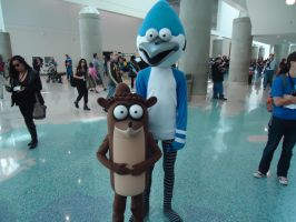 mordecai and rigby - comikaze 2014 by antshadow13