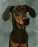 Klaus the Doberman Portrait by CharReed