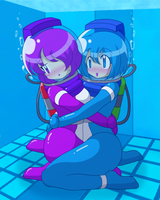 Diving suit girls by Nekomi4