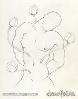 Torso with flowers by drawfellas