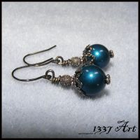 Dark Blue Glittering Pearl Earrings by 1337-Art