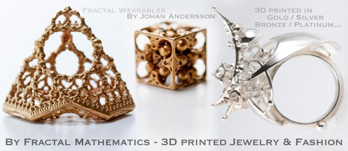 3D printed Jewelry - By Fractal Mathematics by MANDELWERK