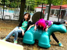 Katelynn and Caitlin at park by LacedxUnlaced