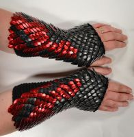 Fire Gauntlets Knitted Scalemail by Crystalsidyll