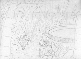 Draft pencil preview - 'Happy New Year - 2014' by Summitwulf
