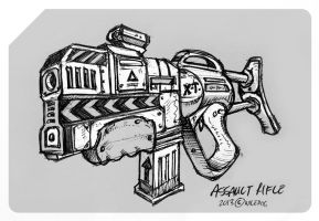 Assault Rifle sketch by wiledog