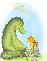 Leatherhead and Michelangelo by draw4you1995