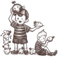 Ness and Lucas and Mr Saturns by OmitsuMarceXD