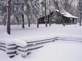 Rustic Cabin in Winter by cOszwiNeL