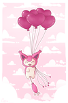 Skitty and heart balloons by Mizzi-Cat