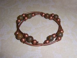 Crysanthemum stone and copper bracelet by asukouenn
