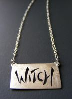 Witch necklace silver by MoonLitCreations