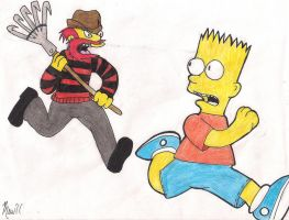 Groundskeeper Willie and Bart by Paranormalmoon
