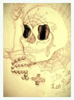 sugar skull day of the dead by deadhorseart