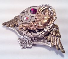 Winged Steampunk Brooch by SteamDesigns