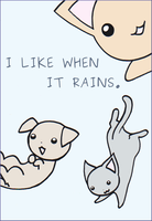 COMMISSION: Rain cats and dogs by iyua