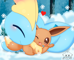 Amaura and Eevee by jirachicute28