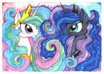 Two sisters: Celestia and Luna by Kattvalk
