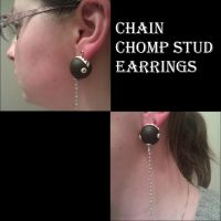 Chain Chomp Stud Earrings by FallenAngelKrisi