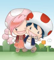 Toad and Toadette by nai-cha