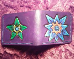 Starmie and Staryu, pokemon, carved leather wallet by mooglestiltzkin