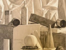 Charcoal Pencil Still Life by saabe