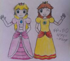 AT:Peach-Hime+Daisy-Hime by mango-chan88