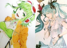 Vocaloid: Gumi and Miku by MACKMAC