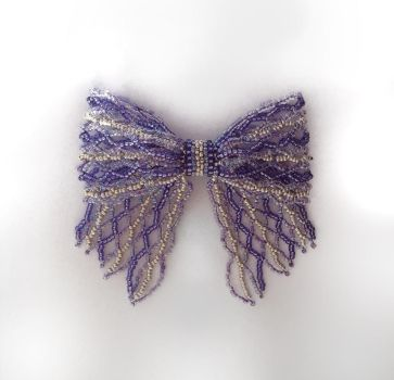 Purple Stripes Bead Ribbon Pin by pinkythepink