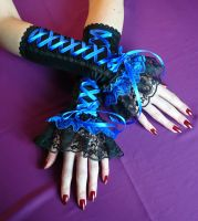 Some royal blue gothic gloves by Estylissimo