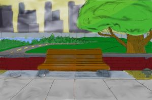 Park bench by S-3-AN