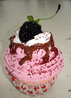 Real Fake Blackberry Cupcake by MotherMayIjewelry