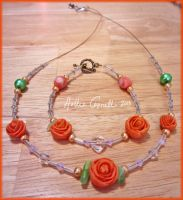 Orange rose Neclace and Bracelette set by HollieBollie