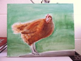 Production Brown Pullet Hen Painting by PinkChocolate14