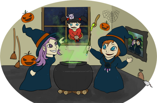 Witches, the Lesbian Family (First Smile) by AnneFaizuani