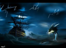 a storm at sea by chocolatecherry