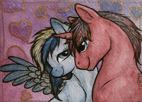 Lightning Flicker and Crimson Charmer .ACEO by silverybeast