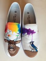 Hand Painted Deer and Bluejay shoes by dannyPs-customs