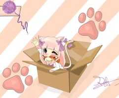 Kitty in box by Soseolart