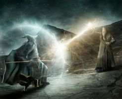 Gandalf vs Dumbledore by rodolfoguerreiro