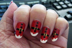 Santa Suit Nails by MayEbony