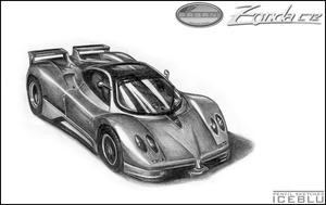 Pencil Sketch-Pagani Zonda C12 by iceblu